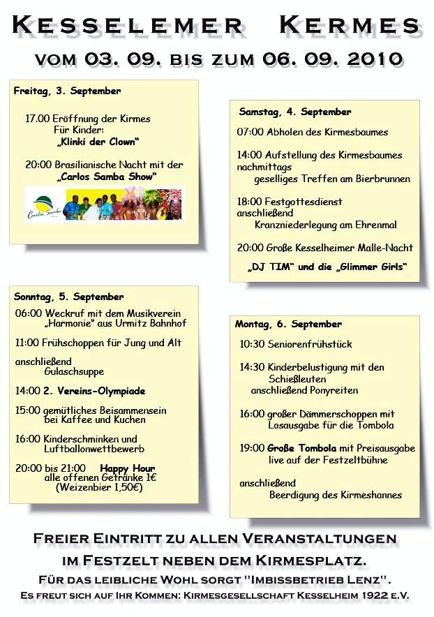 Programm Kirmes 2010